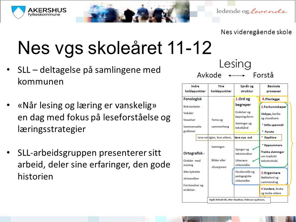 Nes vgs skoleåret 11-12 • SLL – deltagelse på samlingene med kommunen • «Når lesing og læring er vanskelig» en dag med fokus på leseforståelse og læri