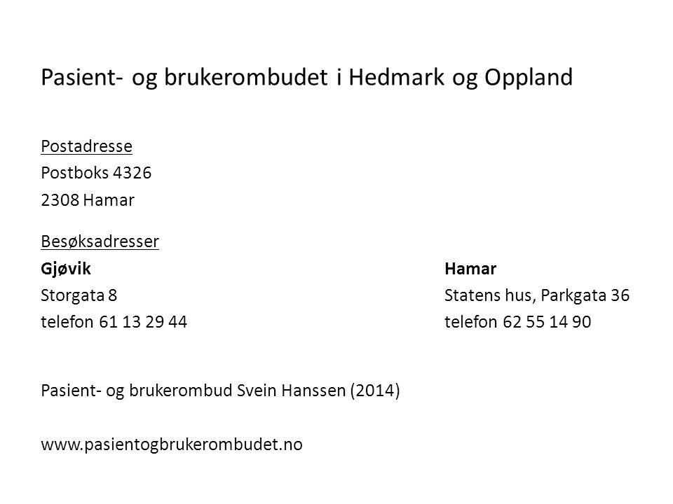 Pasient- og brukerombudet i Hedmark og Oppland Postadresse Postboks 4326 2308 Hamar Besøksadresser Gjøvik Hamar Storgata 8Statens hus, Parkgata 36 tel