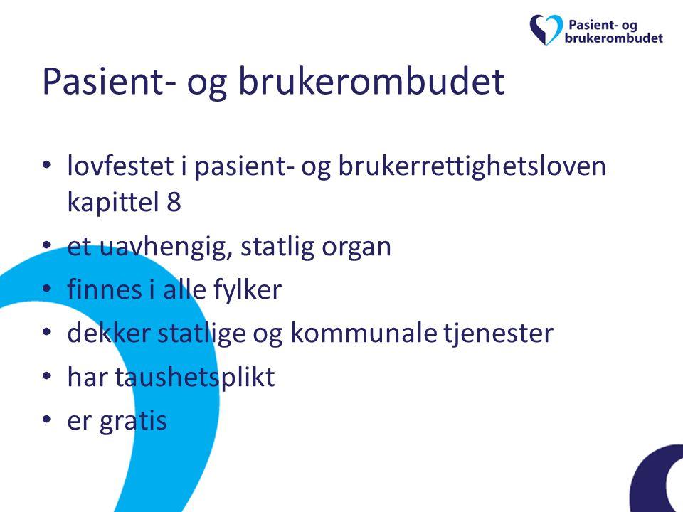 Formål Pasient- og brukerombudet skal arbeide for å ivareta pasientens og brukerens behov, interesser og rettssikkerhet og å bedre kvaliteten i tjenestene