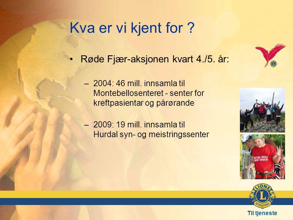 Til tjeneste Kva er vi kjent for .•Røde Fjær-aksjonen kvart 4./5.