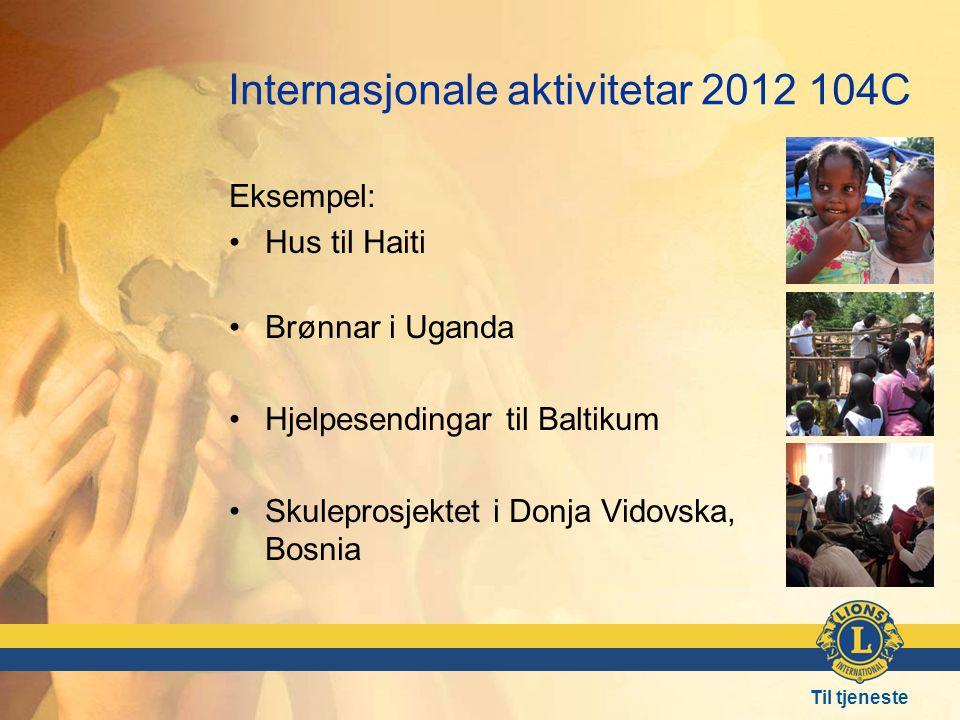 Til tjeneste Internasjonale aktivitetar 2012 104C Eksempel: •Hus til Haiti •Brønnar i Uganda •Hjelpesendingar til Baltikum •Skuleprosjektet i Donja Vidovska, Bosnia