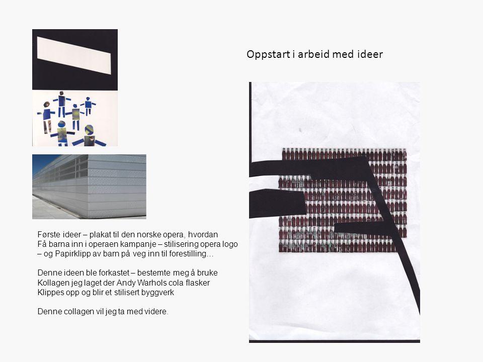 Oppstart i arbeid med ideer Første ideer – plakat til den norske opera, hvordan Få barna inn i operaen kampanje – stilisering opera logo – og Papirkli