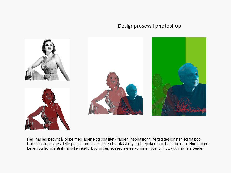 Designprosess i photo shop Variasjoner i farger og fonter til endelig design.