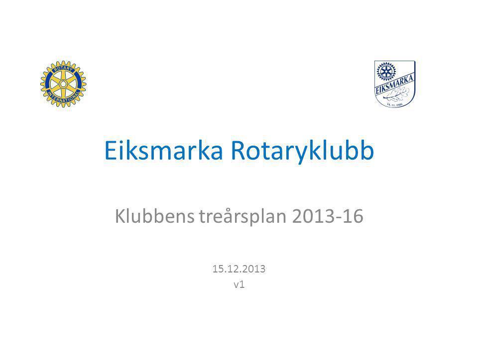 Eiksmarka Rotaryklubb Klubbens treårsplan 2013-16 15.12.2013 v1