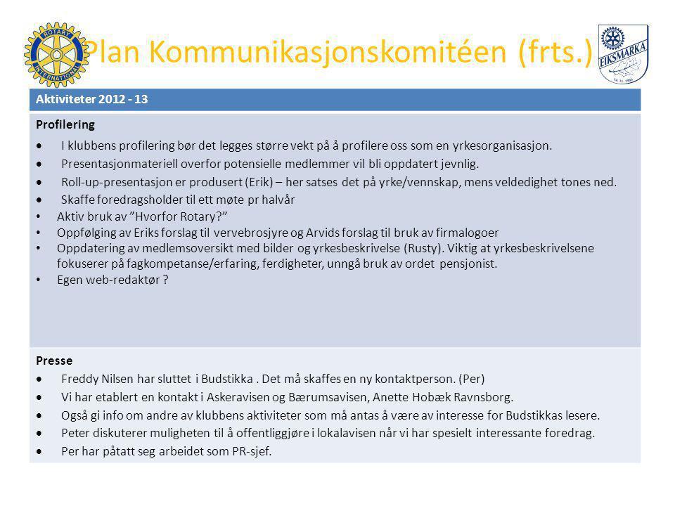 Mål TRF-komitéen Langsiktig mål (mål om tre år): • Være klubbens ressurspersoner og bindeledd til Distriktets TRF-Komité.