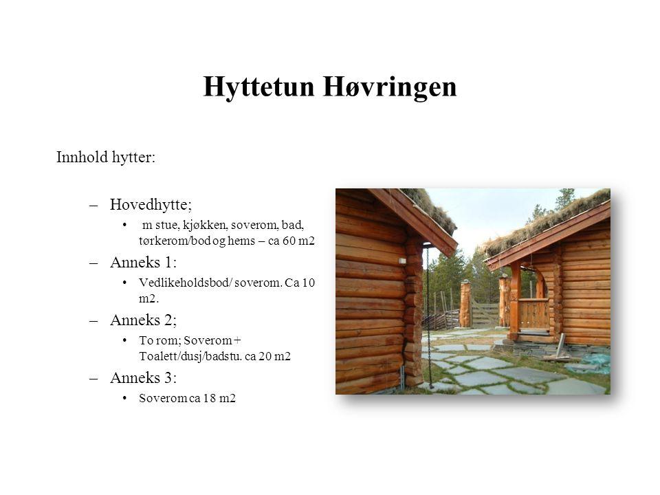 Hyttetun Høvringen Innhold hytter: –Hovedhytte; • m stue, kjøkken, soverom, bad, tørkerom/bod og hems – ca 60 m2 –Anneks 1: •Vedlikeholdsbod/ soverom.