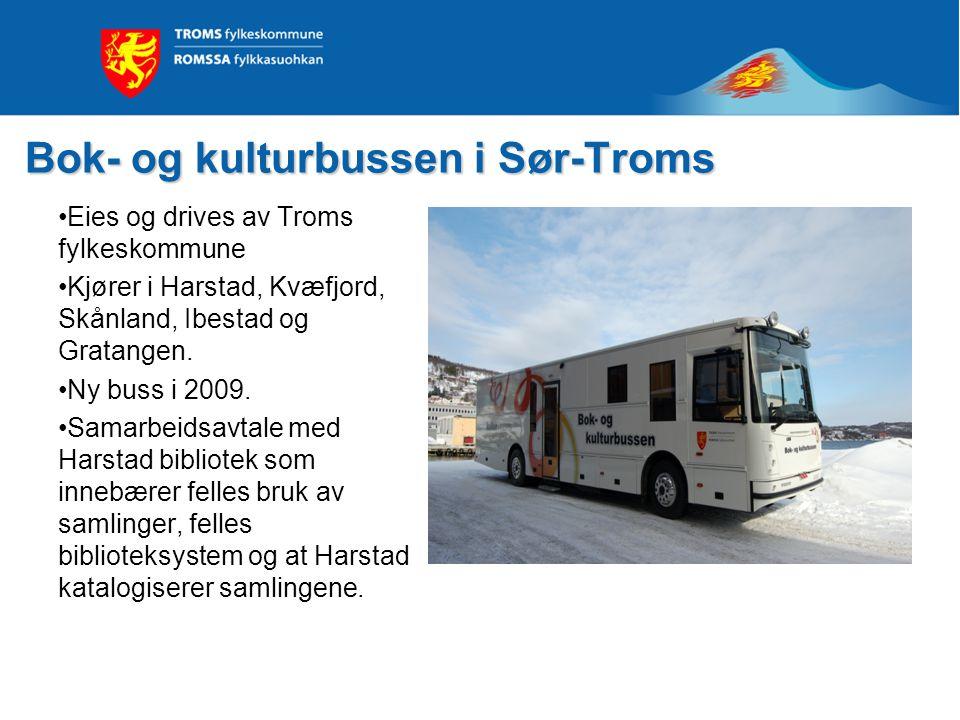 Bok- og kulturbussen i Sør-Troms •Eies og drives av Troms fylkeskommune •Kjører i Harstad, Kvæfjord, Skånland, Ibestad og Gratangen. •Ny buss i 2009.