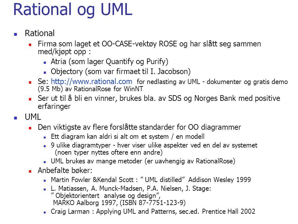 Rational og UML  Rational  Firma som laget et OO-CASE-vektøy ROSE og har slått seg sammen med/kjøpt opp :  Atria (som lager Quantify og Purify)  O