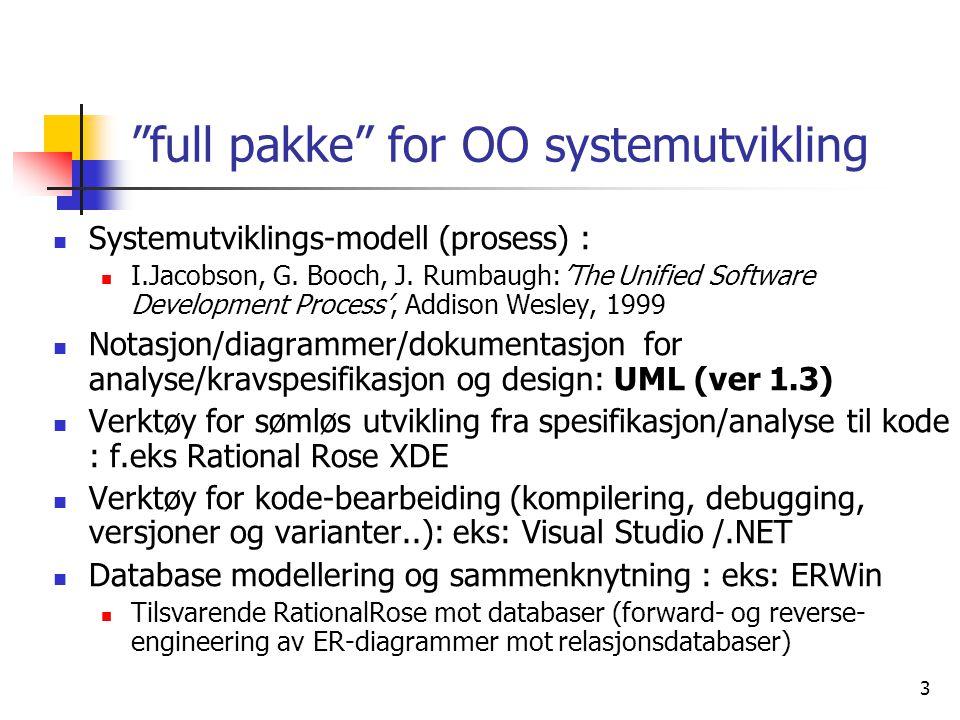 """3 """"full pakke"""" for OO systemutvikling  Systemutviklings-modell (prosess) :  I.Jacobson, G. Booch, J. Rumbaugh:'The Unified Software Development Proc"""