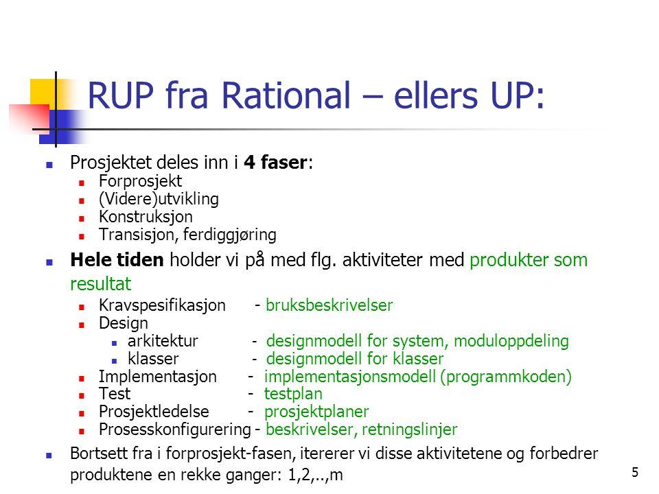 5 RUP fra Rational – ellers UP:  Prosjektet deles inn i 4 faser:  Forprosjekt  (Videre)utvikling  Konstruksjon  Transisjon, ferdiggjøring  Hele