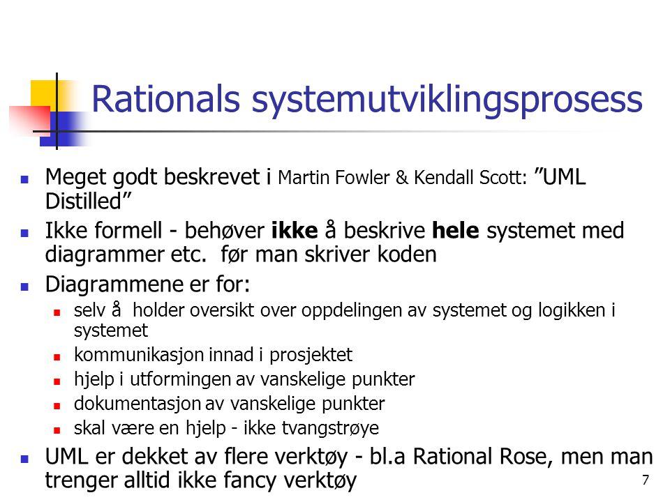 """7 Rationals systemutviklingsprosess  Meget godt beskrevet i Martin Fowler & Kendall Scott: """"UML Distilled""""  Ikke formell - behøver ikke å beskrive h"""