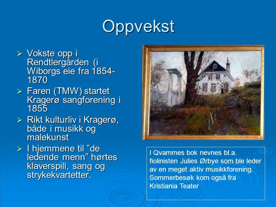 Oppvekst  Vokste opp i Rendtlergården (i Wiborgs eie fra 1854- 1870  Faren (TMW) startet Kragerø sangforening i 1855  Rikt kulturliv i Kragerø, båd
