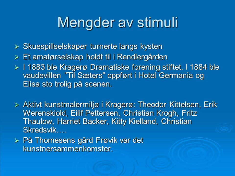 Mengder av stimuli  Skuespillselskaper turnerte langs kysten  Et amatørselskap holdt til i Rendlergården  I 1883 ble Kragerø Dramatiske forening st