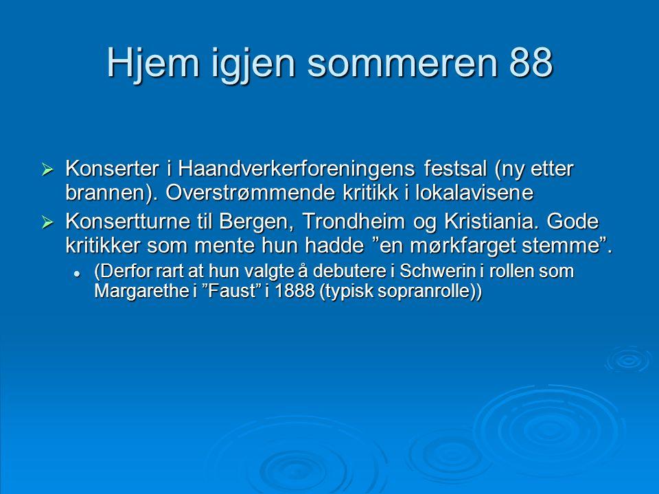 Hjem igjen sommeren 88  Konserter i Haandverkerforeningens festsal (ny etter brannen). Overstrømmende kritikk i lokalavisene  Konsertturne til Berge