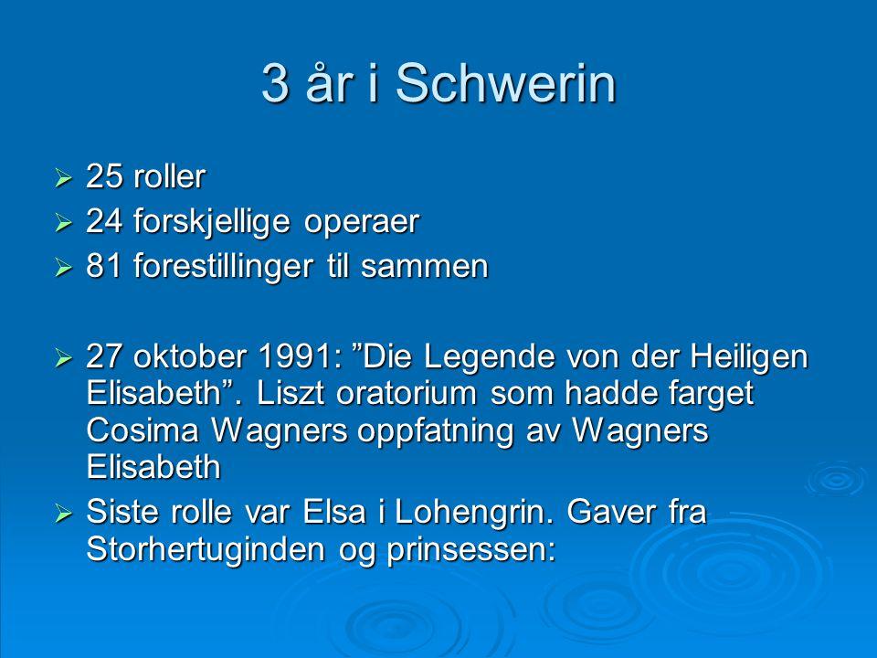 """3 år i Schwerin  25 roller  24 forskjellige operaer  81 forestillinger til sammen  27 oktober 1991: """"Die Legende von der Heiligen Elisabeth"""". Lisz"""