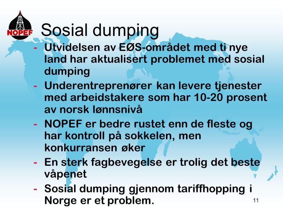 11 Sosial dumping -Utvidelsen av EØS-området med ti nye land har aktualisert problemet med sosial dumping -Underentreprenører kan levere tjenester med