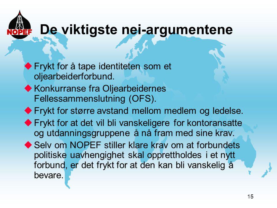 15 De viktigste nei-argumentene uFrykt for å tape identiteten som et oljearbeiderforbund. uKonkurranse fra Oljearbeidernes Fellessammenslutning (OFS).
