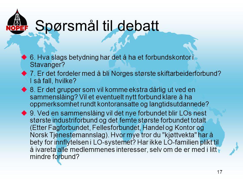 17 Spørsmål til debatt  6. Hva slags betydning har det å ha et forbundskontor i Stavanger?  7. Er det fordeler med å bli Norges største skiftarbeide