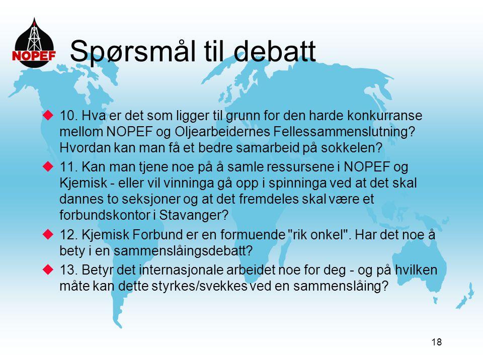 18 Spørsmål til debatt  10. Hva er det som ligger til grunn for den harde konkurranse mellom NOPEF og Oljearbeidernes Fellessammenslutning? Hvordan k