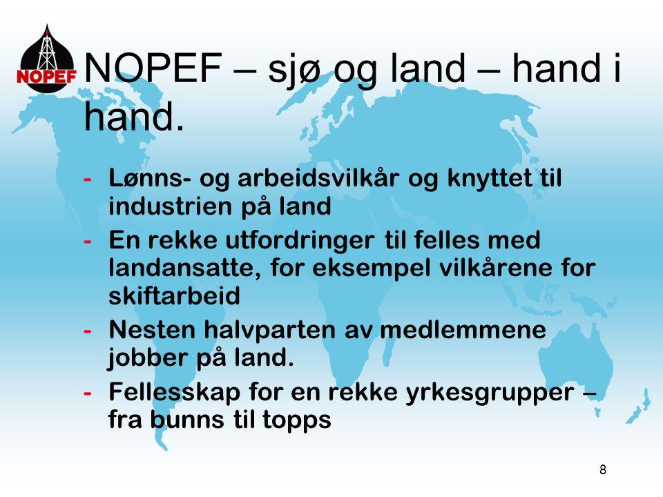 8 NOPEF – sjø og land – hand i hand. -Lønns- og arbeidsvilkår og knyttet til industrien på land -En rekke utfordringer til felles med landansatte, for