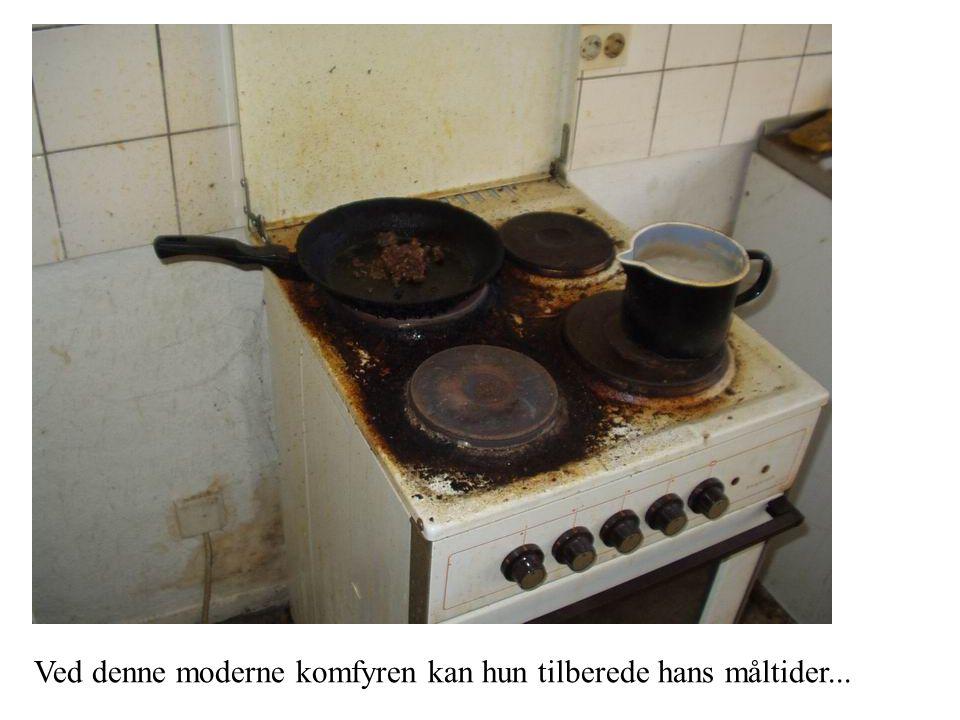 Ved denne moderne komfyren kan hun tilberede hans måltider...