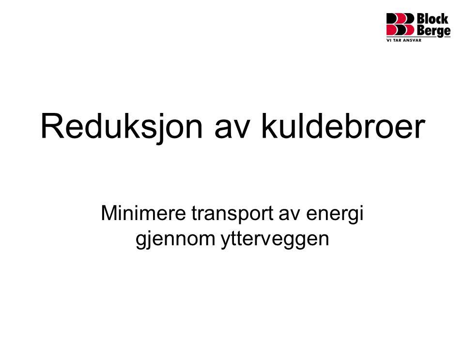 Reduksjon av kuldebroer Minimere transport av energi gjennom ytterveggen
