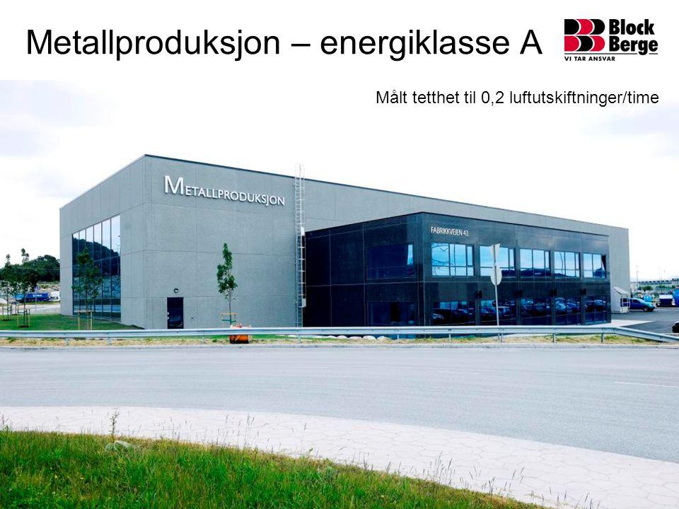 Metallproduksjon – energiklasse A Målt tetthet til 0,2 luftutskiftninger/time