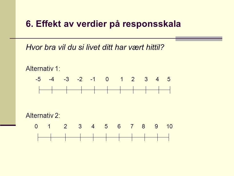 6.Effekt av verdier på responsskala Hvor bra vil du si livet ditt har vært hittil.