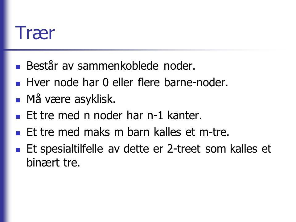 Trær  Består av sammenkoblede noder.  Hver node har 0 eller flere barne-noder.