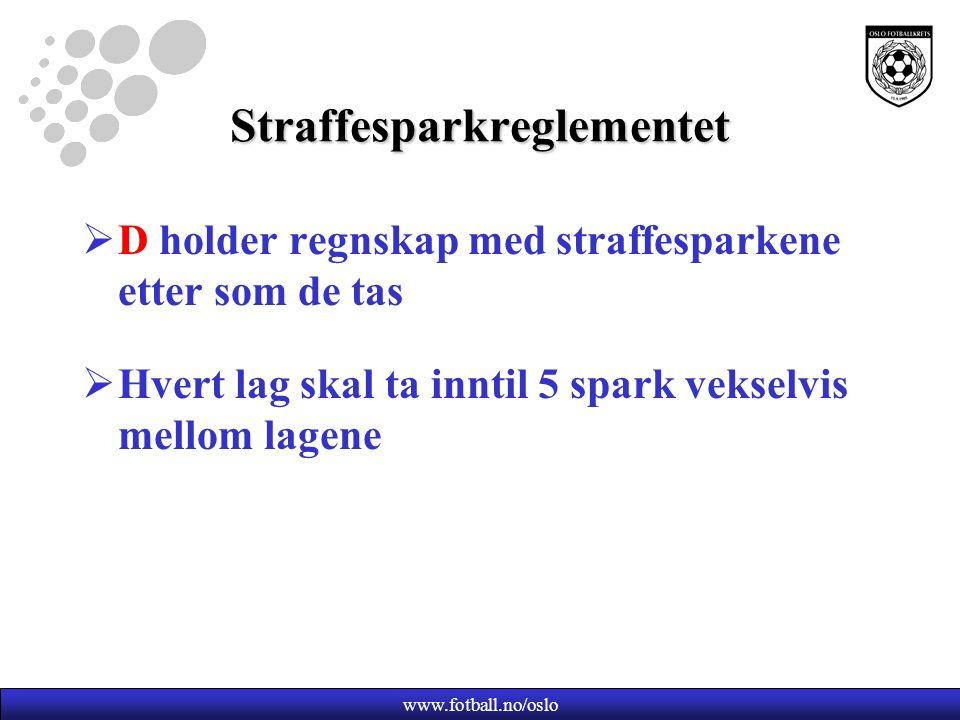 Straffesparkreglementet  D holder regnskap med straffesparkene etter som de tas  Hvert lag skal ta inntil 5 spark vekselvis mellom lagene www.fotball.no/oslo