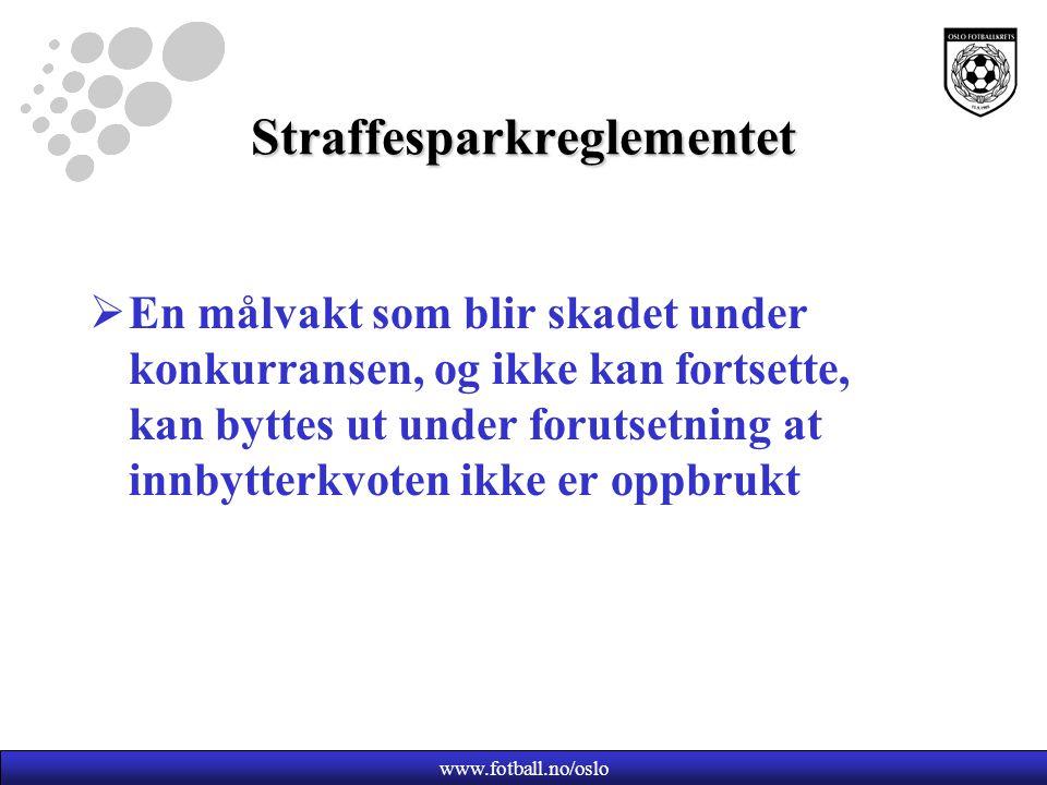 www.fotball.no/oslo Straffesparkreglementet  En målvakt som blir skadet under konkurransen, og ikke kan fortsette, kan byttes ut under forutsetning at innbytterkvoten ikke er oppbrukt