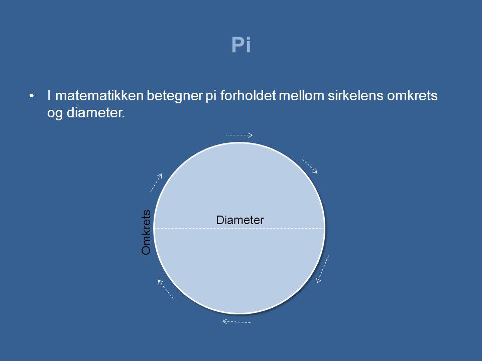 Pi •I matematikken betegner pi forholdet mellom sirkelens omkrets og diameter. Diameter Omkrets