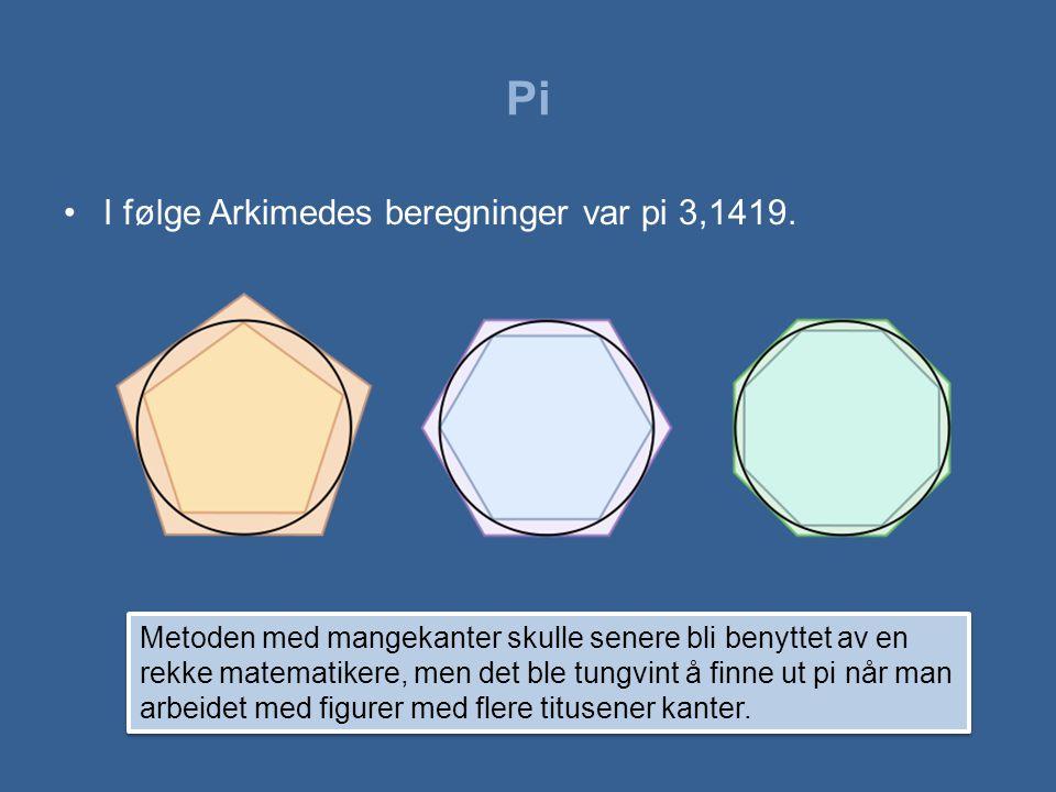 Pi •Opp gjennom historien har nye og bedre beregninger ført til at pi har fått flere desimaler.