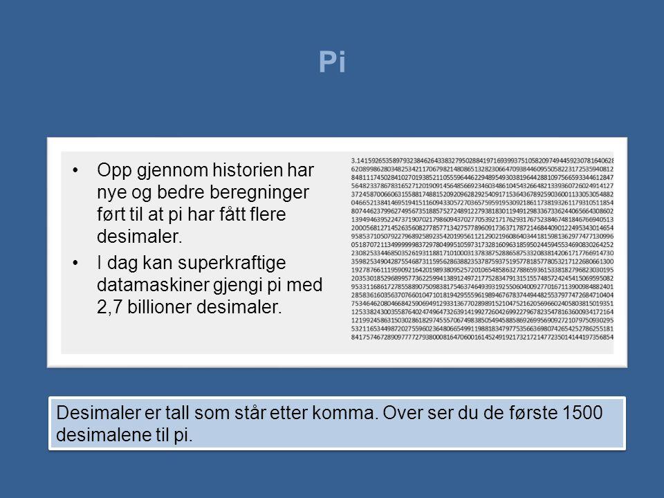 Pi •Opp gjennom historien har nye og bedre beregninger ført til at pi har fått flere desimaler. •I dag kan superkraftige datamaskiner gjengi pi med 2,