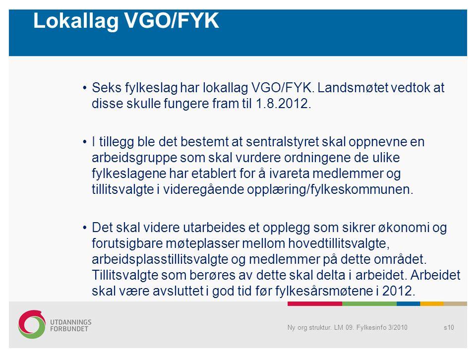 Lokallag VGO/FYK •Seks fylkeslag har lokallag VGO/FYK.