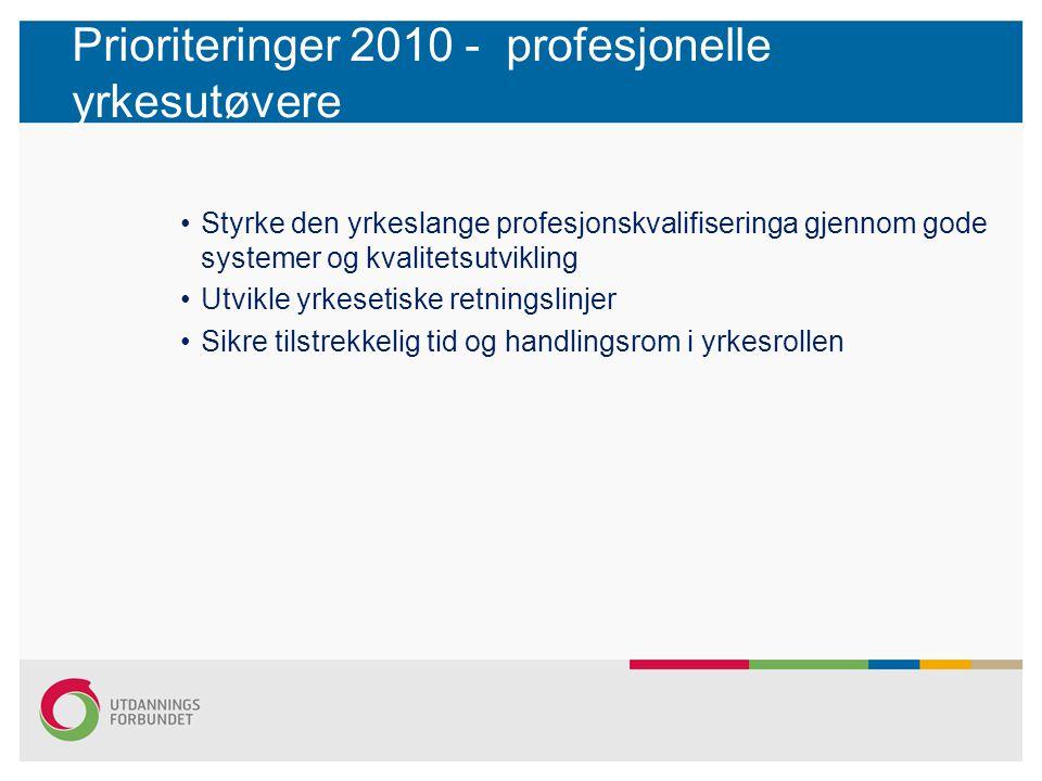 Prioriteringer 2010 - profesjonelle yrkesutøvere •Styrke den yrkeslange profesjonskvalifiseringa gjennom gode systemer og kvalitetsutvikling •Utvikle yrkesetiske retningslinjer •Sikre tilstrekkelig tid og handlingsrom i yrkesrollen
