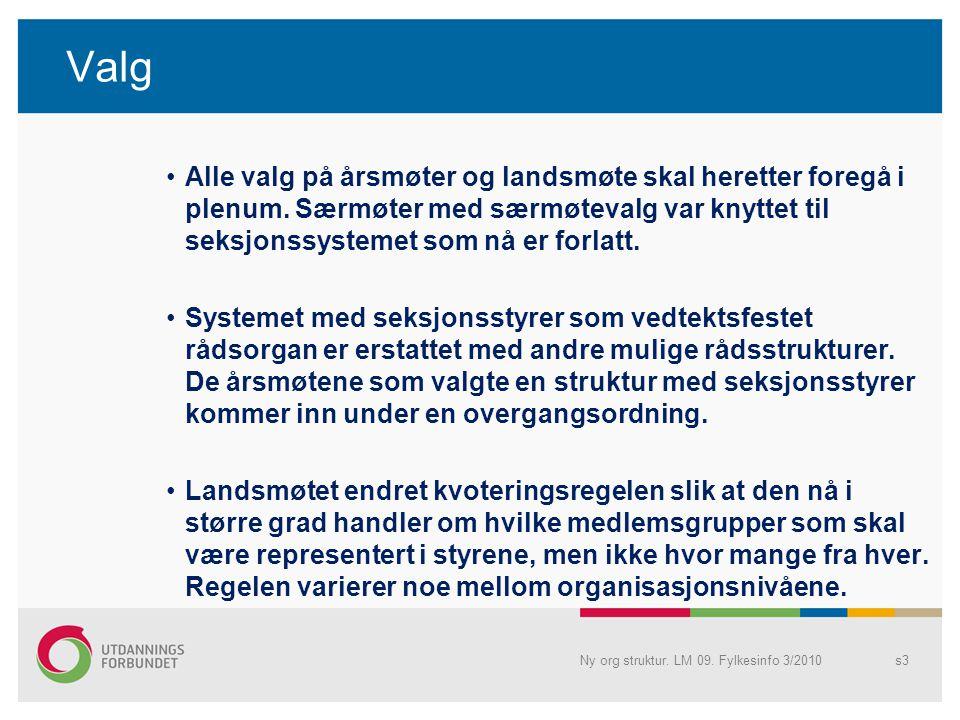 Valg •Alle valg på årsmøter og landsmøte skal heretter foregå i plenum.