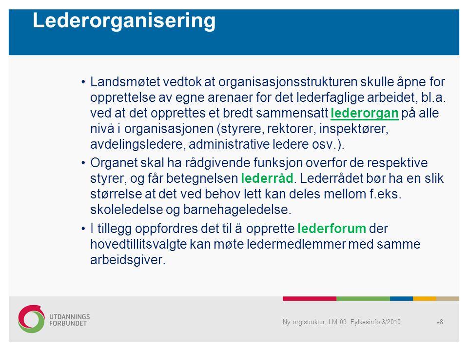 Lederorganisering •Landsmøtet vedtok at organisasjonsstrukturen skulle åpne for opprettelse av egne arenaer for det lederfaglige arbeidet, bl.a.