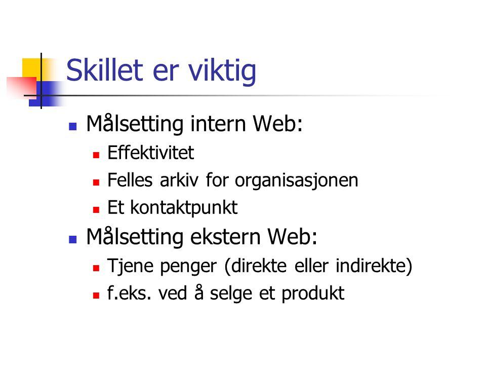 Skillet er viktig  Målsetting intern Web:  Effektivitet  Felles arkiv for organisasjonen  Et kontaktpunkt  Målsetting ekstern Web:  Tjene penger (direkte eller indirekte)  f.eks.