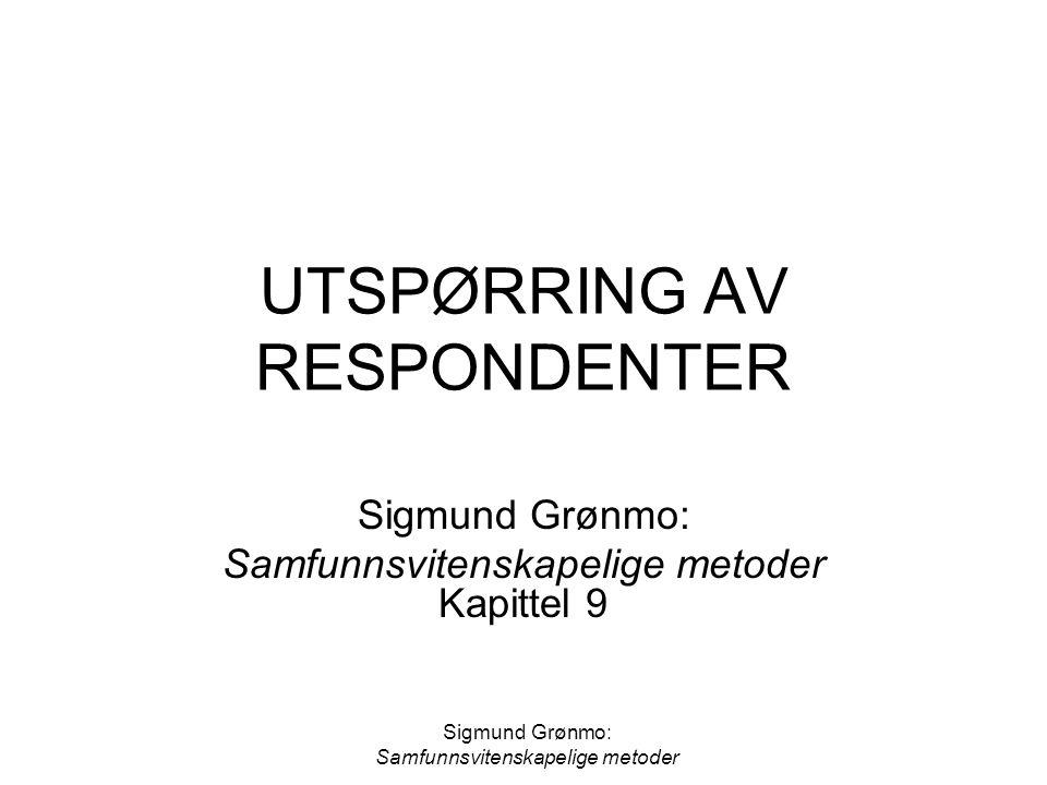 Sigmund Grønmo: Samfunnsvitenskapelige metoder UTSPØRRING AV RESPONDENTER Sigmund Grønmo: Samfunnsvitenskapelige metoder Kapittel 9