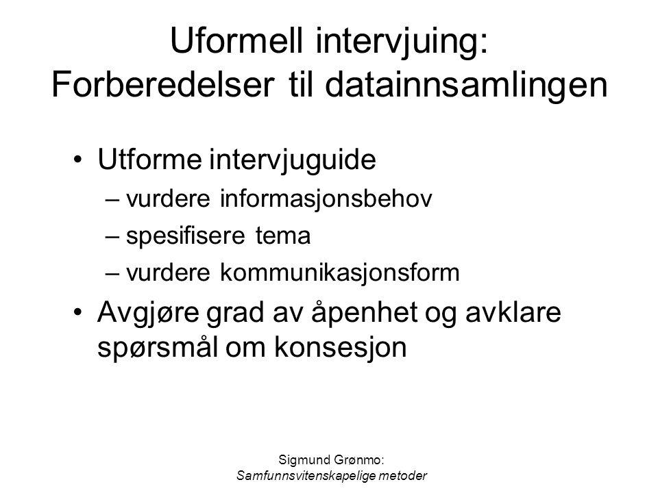 Sigmund Grønmo: Samfunnsvitenskapelige metoder Uformell intervjuing: Forberedelser til datainnsamlingen •Utforme intervjuguide –vurdere informasjonsbe