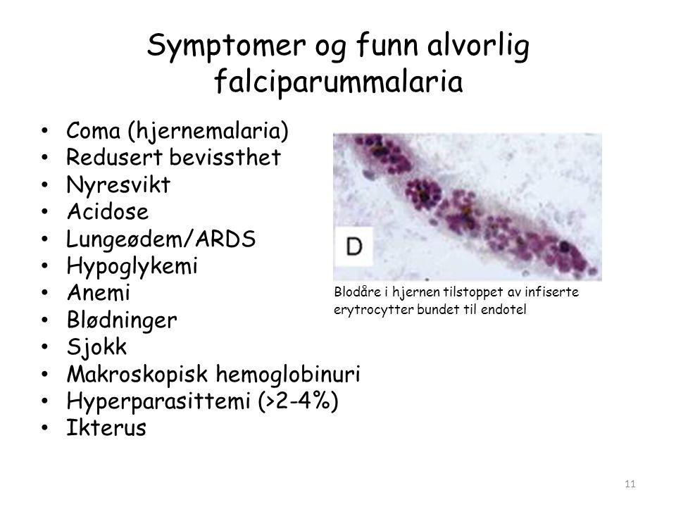 Symptomer og funn alvorlig falciparummalaria • Coma (hjernemalaria) • Redusert bevissthet • Nyresvikt • Acidose • Lungeødem/ARDS • Hypoglykemi • Anemi