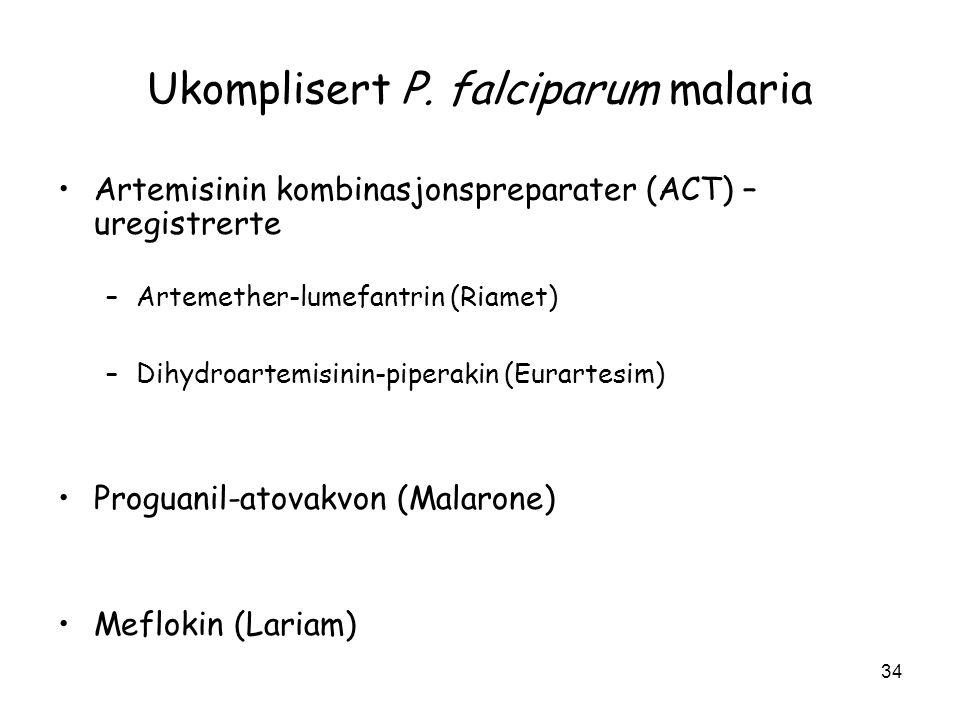 Ukomplisert P. falciparum malaria •Artemisinin kombinasjonspreparater (ACT) – uregistrerte –Artemether-lumefantrin (Riamet) –Dihydroartemisinin-pipera