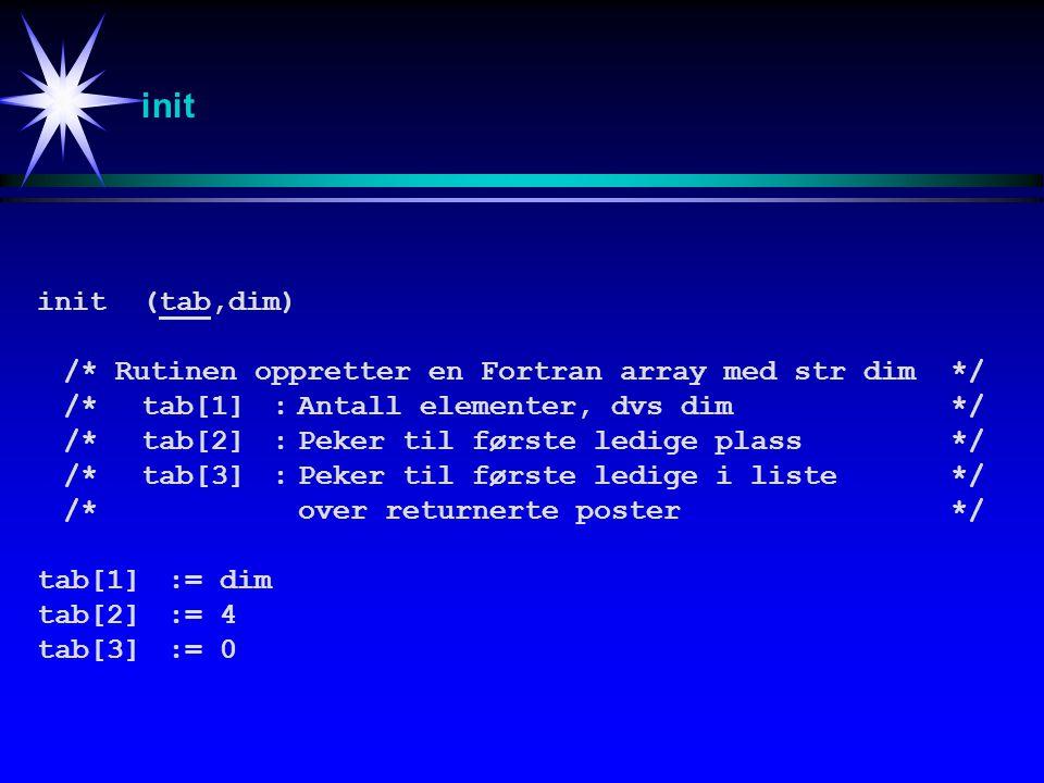init init (tab,dim) /*Rutinen oppretter en Fortran array med str dim*/ /*tab[1]:Antall elementer, dvs dim */ /*tab[2]:Peker til første ledige plass */ /*tab[3]:Peker til første ledige i liste*/ /*over returnerte poster*/ tab[1]:=dim tab[2]:=4 tab[3]:=0