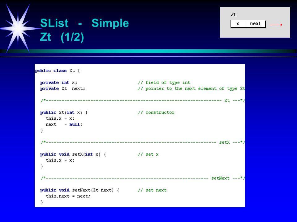 SList - Simple Zt (1/2) x x next Zt