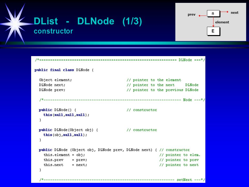 DList - DLNode (1/3) constructor n n E E element prev next