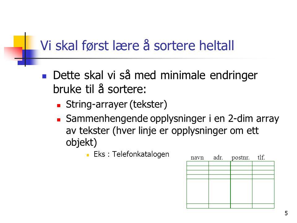 16 Sortering av tekster (String)  Vi skal sortere denne ved å bytte om på pekerne (la a[0] peker på Arne ,..osv) med innstikkmetoden Ola Kari Arne Jo a