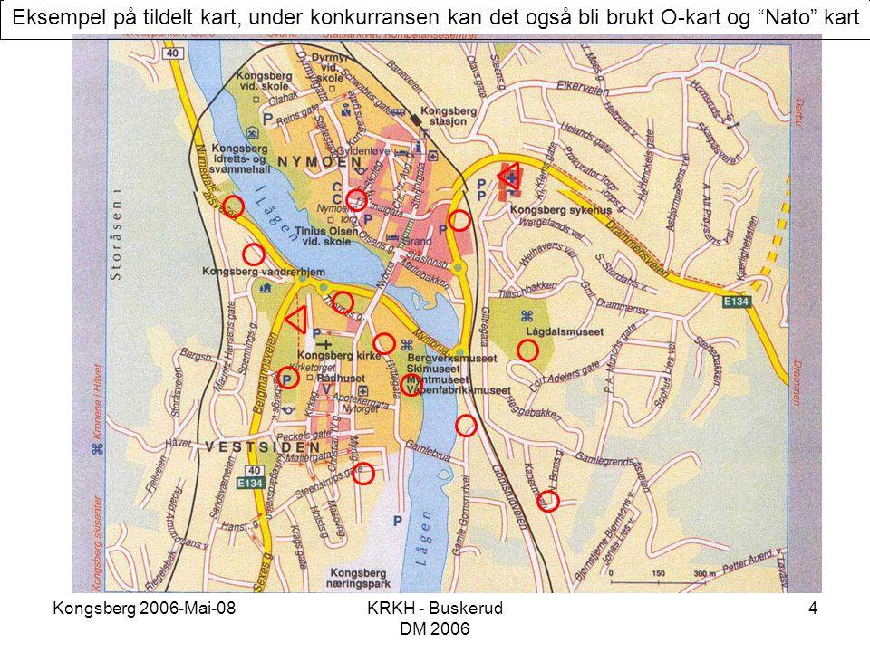 """Kongsberg 2006-Mai-08KRKH - Buskerud DM 2006 4 Eksempel på tildelt kart, under konkurransen kan det også bli brukt O-kart og """"Nato"""" kart"""
