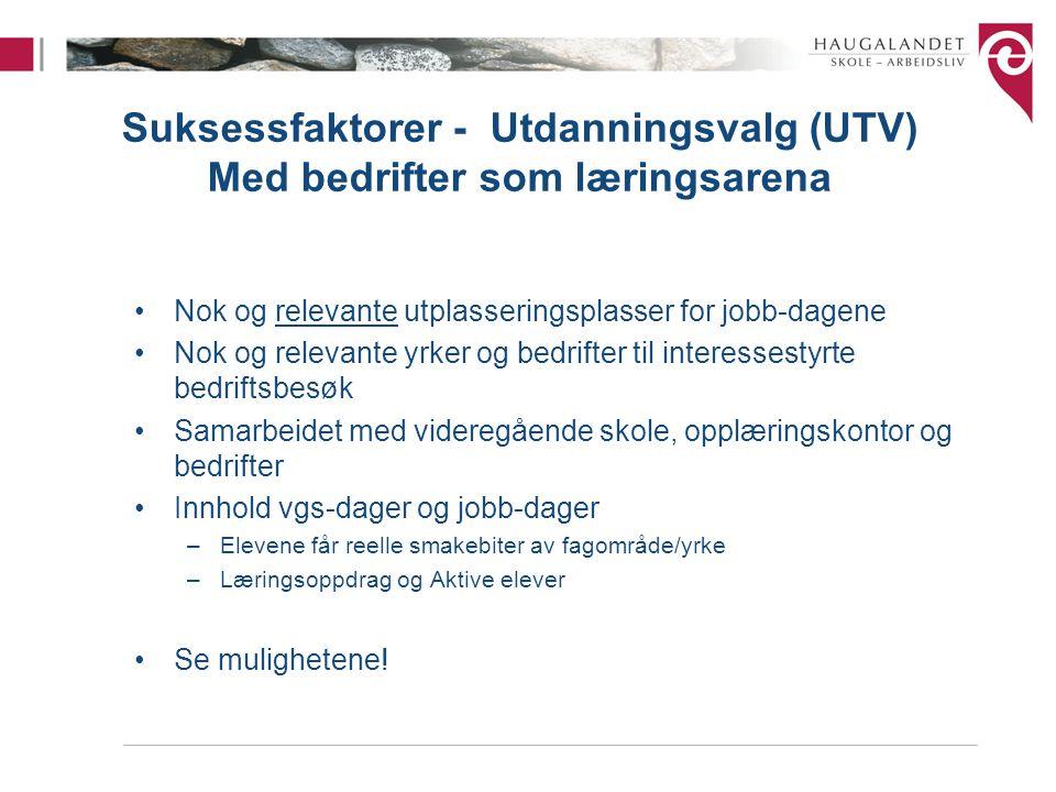 Suksessfaktorer - Utdanningsvalg (UTV) Med bedrifter som læringsarena •Nok og relevante utplasseringsplasser for jobb-dagene •Nok og relevante yrker o
