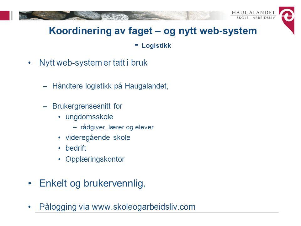 Koordinering av faget – og nytt web-system - Logistikk •Nytt web-system er tatt i bruk –Håndtere logistikk på Haugalandet, –Brukergrensesnitt for •ung